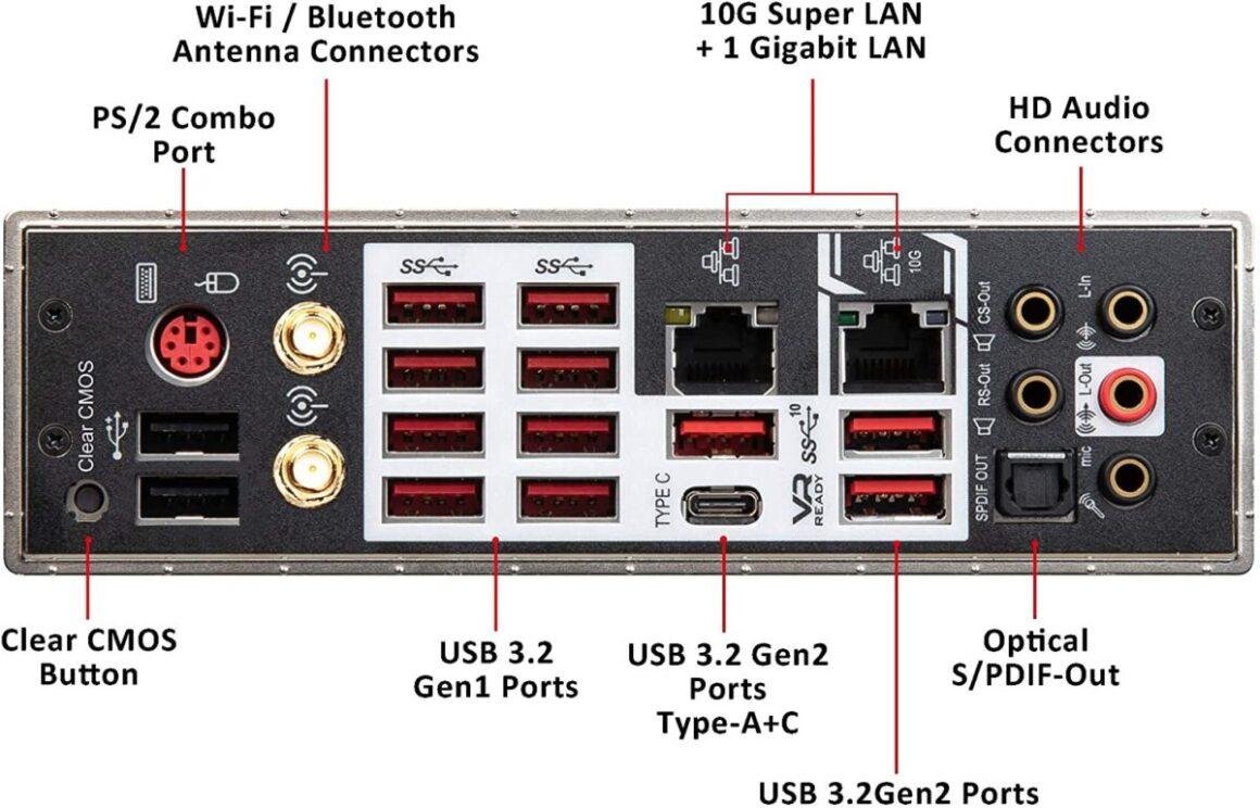 MSI Prestige X570 CREATION E ATX ports